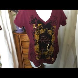 Gorgeous tee burgundy and black w/glitter  Size XL